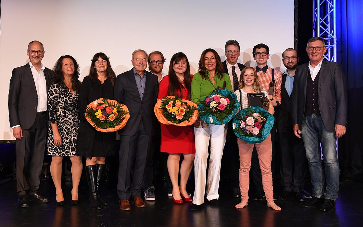 Die Gewinner, die Jury, Oberbürgermeister Beck, die Hautsponsoren und Michael Baur