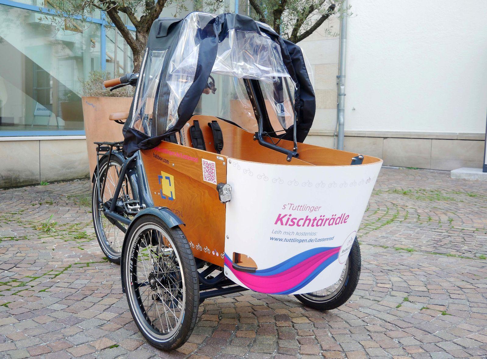Kischtärädle, das Tuttlinger Leih-Lastenrad im Rathausinnenhof
